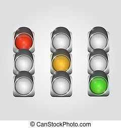 Traffic lights set - Traffic lights art object set. Vector...