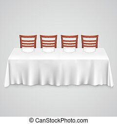 Table with a tablecloth and chair