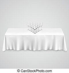 Table with a tablecloth glasses illustration art 10eps