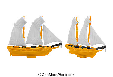 Ship toy - Isolated ancient ship toy with yellow deck photo...
