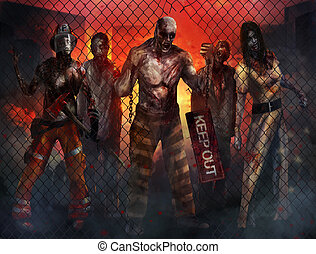 Zombies Walking - Fantasy dead zombies walking through metal...