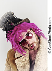 Bearded Lunatic - Pink haired bearded bum lunatic man with...