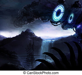 Alien valley - Sci-fi background illustration with alien...