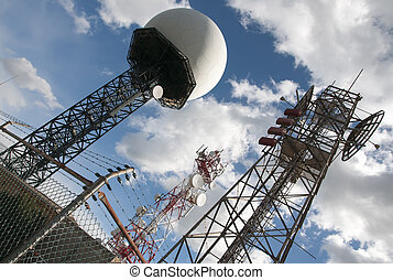radar base - radar and comunication antennas on top of a...