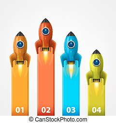 Space rocket launch info art. Vector illustration