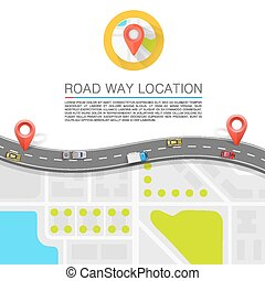 Paved path on the road art. Vector background