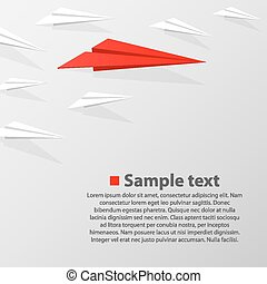 Vrowd of paper airplanes with a leader. Vector illustration