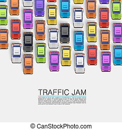 Traffic jam on the road. Vector background