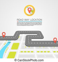 Paved path on the road art Vector background