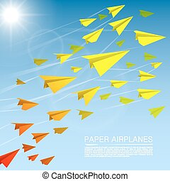 Flying paper airplanes art banner Vector illustration