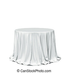 Big white round table and cloth isolated on a white... | 180 x 195 jpeg 4kB