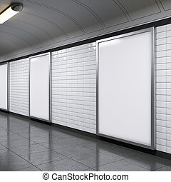 vertical billboards on metro station - blank vertical...