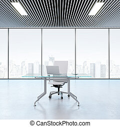 Modern workplace in the office with windows. 3d rendering
