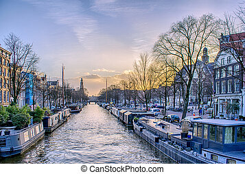 View of one of the Unesco world heritage famous city canals...
