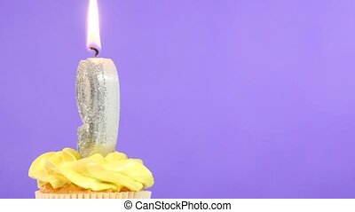 Birthday cupcake with candle number nine. - Birthday cupcake...