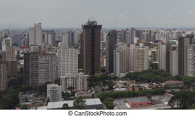 time lape pan shot Curitiba Skyline - time lapse aerial view...