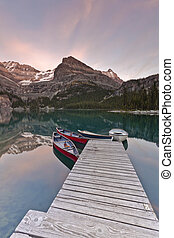 scenic mountain sunset view in the mountains of canada, bc,