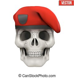 Human skull with Military maroon beret. Vector Illustration...