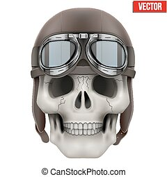 Human skull with retro aviator or biker helmet. Vector...