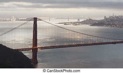 Time lapse close up Golden Gate - Time lapse sunrise Golden...