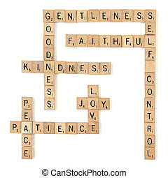 Spiritual Fruits - Scrabble tiles arranged crossword style...