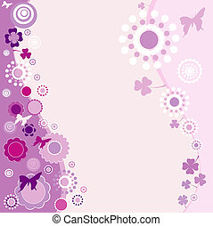 nature - springtime design in purple with butterflies and...