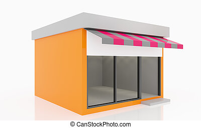 Modern Empty Shop windows orange kiosk exterior with blank...