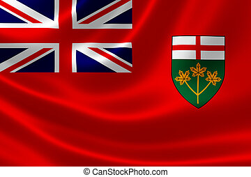 Ontario Provincial Flag of Canada - 3D rendering of the...