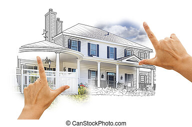 Hands Framing House Drawing and Photo on White - Hands...