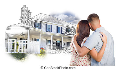 Military Couple Looking At House Drawing and Photo on White