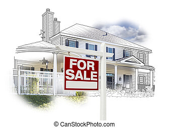 House and For Sale Sign Drawing and Photo on White - Custom...