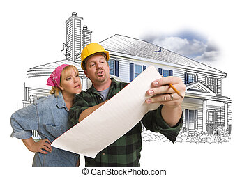 Woman with Contractor Over House Drawing and Photo on White