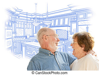 Senior Couple Over Custom Kitchen Design Drawing on White -...