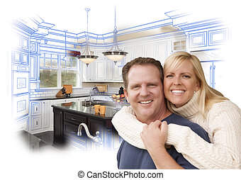 Happy Couple Hugging with Custom Kitchen Drawing and Photo...