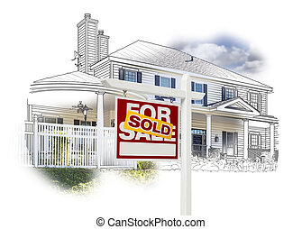 House and Sold Sign Drawing and Photo on White - Custom...