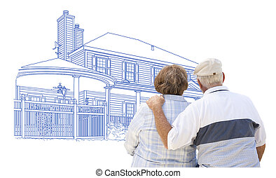 Embracing Senior Couple Looking At House Drawing on White
