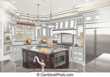 Beautiful Custom Kitchen Design Drawing with Ghosted Photo...