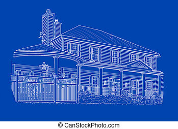 Custom White House Drawing on Blue Background.