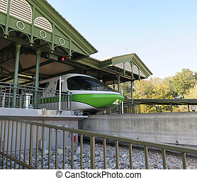 High speed monorail train closeup