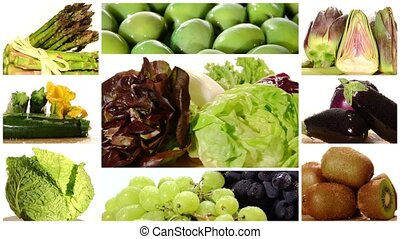 fresh vegetables and fruits composition on a white...