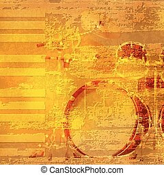 abstract grunge piano background with drum kit - abstract...