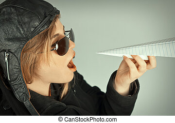 Aviator Girl Paper Plane - Aviator pilot with hat and...