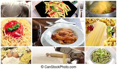 Italian food, pasta collage - Italian pasta montage