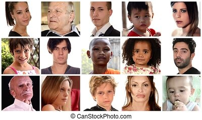 faces montage - collage of people of different racial and...