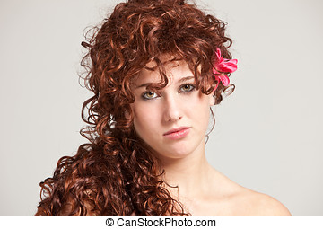 Gorgeous readhead - Beautiful young woman with long red hair...