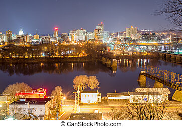 Harrisburg, Pennsylvania Skyline at Night