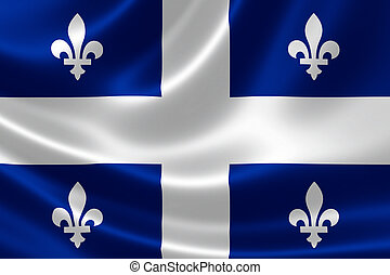 Quebec Provincial Flag of Canada - 3D rendering of the...