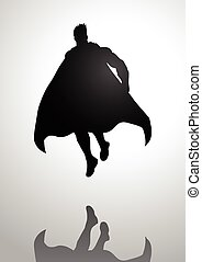 Superhero - Silhouette illustration of a superhero in flying...
