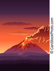 Volcano - Vector illustration of a volcano erupting