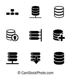 Vector database icon set on white background